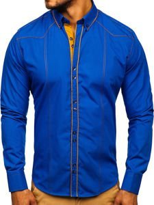 Men's Elegant Long Sleeve Shirt Royal Blue Bolf 4777