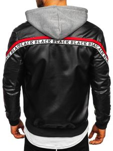 Men's Hooded Leather Jacket Black-Red Bolf HY614