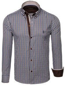 Men's Long Sleeve Checkered Vichy Shirt Brown Bolf 4712