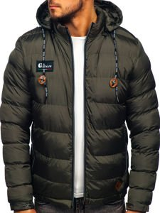 Men's Quilted Down Winter Jacket Khaki Bolf 50A200