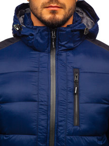 Men's Quilted Winter Sport Jacket Navy Blue Bolf AB98