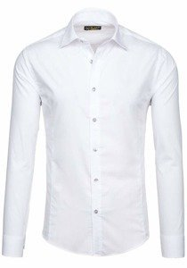 White Men's Elegant Long Sleeve Shirt Bolf 1703