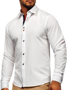 White Men's Elegant Long Sleeve Shirt Bolf 5826